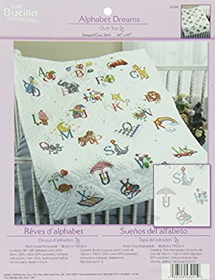 Bucilla Stamped Cross Stitch Baby Quilt Top, 34 by 43-Inch, 43241 Alphabet Dreams by Plaid Inc