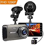 Dash Cam, MILIEN 1080P Front and Rear Dual Dash Camera with Full HD 4' LCD Screen, 170° Wide Angle Lens Dashboard Camera with G-Sensor, Loop Recording, Rear View and Motion Detection (Black)