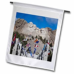 3dRose FL_192179_1 USA, Dakota del Sur, Black Hills, Mount Rushmore National Memorial. Bandera de Garden, 30,48 x 45,72 cm, Color Blanco
