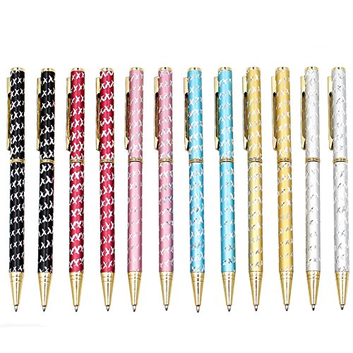 12 Pack Cute Ballpoint Pens, Yacig Bling Bling Gold Metal Pen Pretty Crystal Twist-Action Pens Slim Ball Pens Black Ink for Women Girls Gifts Business Office Supplies (B)