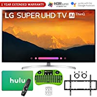 """LG 55SK9000PUA 55""""-Class 4K HDR Smart LED AI Super UHD TV w/ThinQ (2018 Model) + Hulu $75 Gift Card + 1 Year Extended Warranty + Flat Wall Mount Kit Ultimate Bundle + More"""