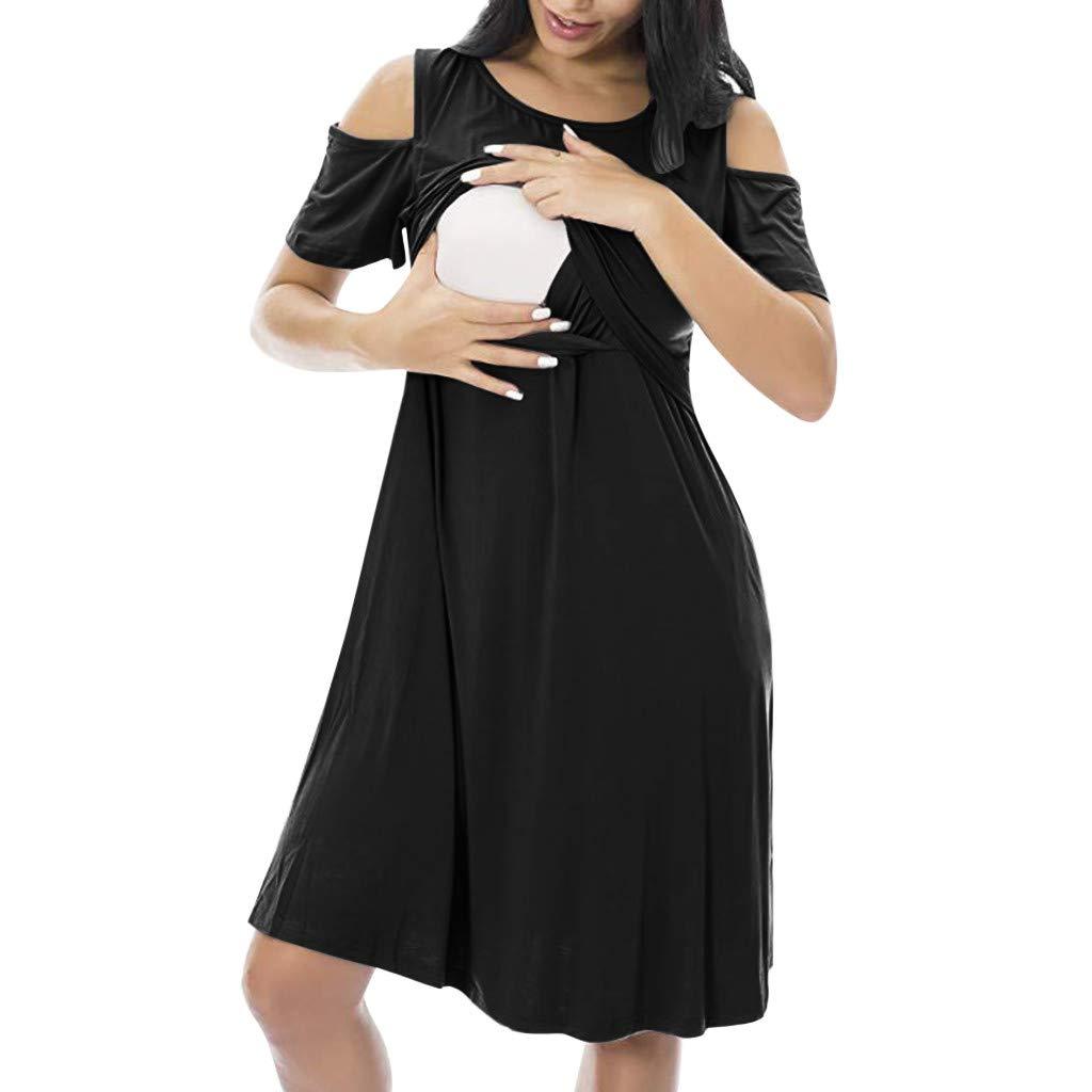 Femmes Enceinte Robe Allaitement Maternel Blouse Manche Courte /Ét/é Grossesse Doux Casual Haut dallaitement Tops Longue Robe Pyjamas
