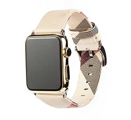 for Apple Watch Band 38mm 42mm Leather Iwatch Strap Replacement Band with Stainless Metal Classic Buckle for Apple Watch Series 3 Series 2 Series 1 (Light Color 42mm)