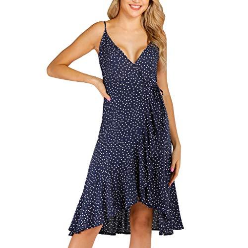 iLOOSKR Dress for Womens Casual Summer Strappy V Neck Sun Dress Ladies Polka Dot Ruffle Hem Dresses Navy