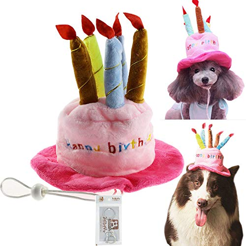 Bolbove Bro'Bear Dog Birthday Hat Cake & Candles Design Party Costume Accessory Headwear Pink (One Size Fits Most) -