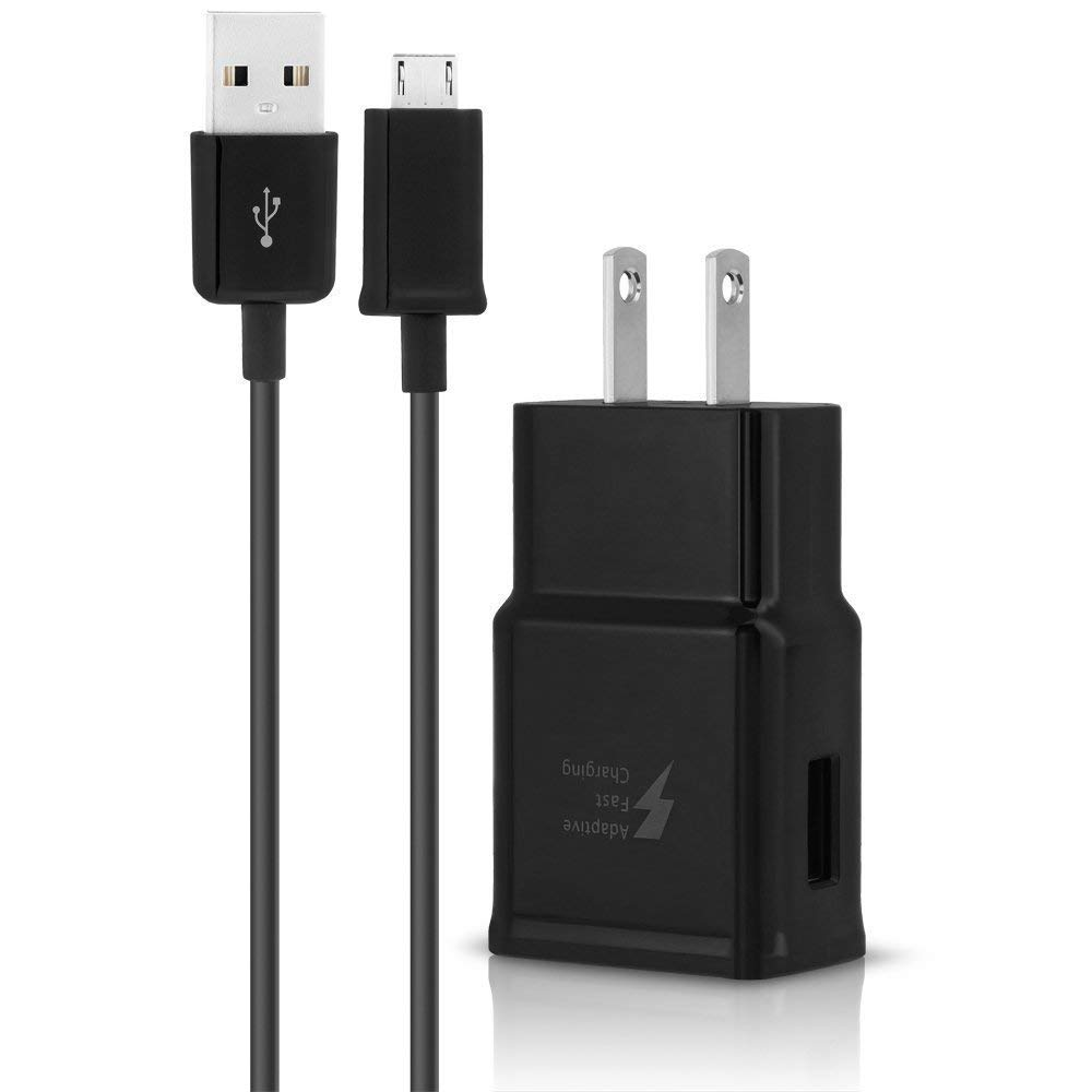 Adaptive Fast Charger for Samsung Galaxy S7/S7 Edge/S6/Edge/Edge+/ and LG G2 / G3 / G4 {Wall Charger + Cable}(Black)