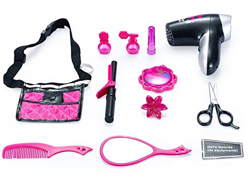 Beauty Stylist Set  Complete Play Pretend Hair Salon Station Gift Playset for Girls with Toy Blow Dryer, Curler, Scissors, Comb, Mirror & Other Styling Tools  Recommended Ages 3+