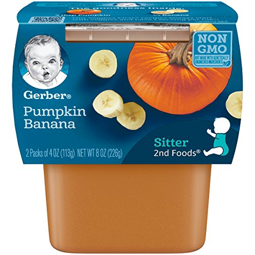 Gerber 2nd Foods Pumpkin & Banana Pureed Baby Food, 4 Ounce Tubs, 2 Count (Pack of 8)