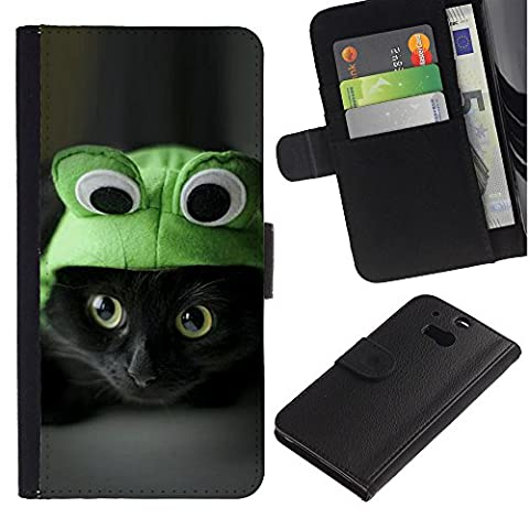 APlus Cases // HTC One M8 // Frog Cat Hat Cute Black Eyes Kitten Shorthair // Slim PU Leather Wallet Credit Card Case Cover Shell (Htc One M8 Case Frog)