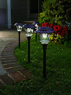 Set of 4 Solar Garden Path Lights, Glass and Powder Coated Cast Aluminum Metal, 6 Bright LEDs per Light 50 Lumens Output per LED, Easy No Wire Installation, Outdoor All Weather, Bronze