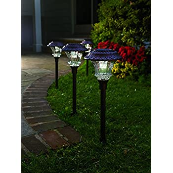 Outdoor Lights Garden Gardenbliss best solar lights for outdoor pathway 10 brightest set of 4 solar garden path lights glass and powder coated cast aluminum metal 6 bright leds per light 50 lumens output per led easy no wire installation audiocablefo