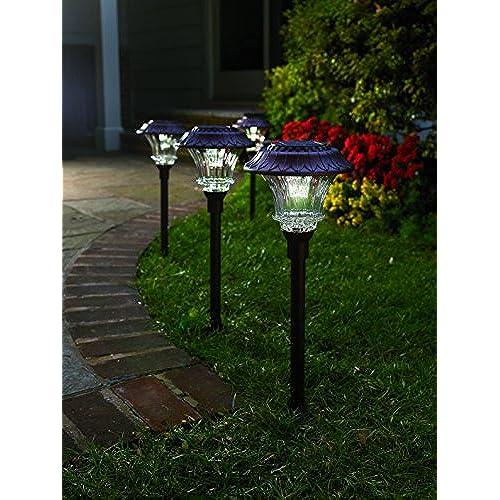 Set of 4 Solar Garden Path Lights Glass and Powder Coated Cast Aluminum Metal 6 Bright LEDs per Light 50 Lumens Output per LED Easy No Wire Installation ...  sc 1 st  Amazon.com & Easy Installation Outdoor Light: Amazon.com