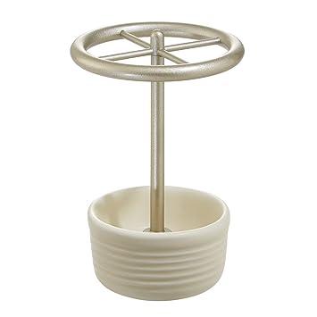 InterDesign - Elsa - Porta cepillos de Dientes, de cerámica - Natural/Satinado: Amazon.es: Hogar