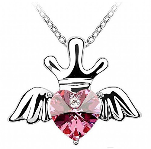 Infinite U Heart Angel Wing Imperial Crown Austrian Crystal Silver Plated Pendant/Necklace for Women/Girls/Female/Teenagers-4 Colour Options Ocean Blue/Red/Blue/Purple (Red)