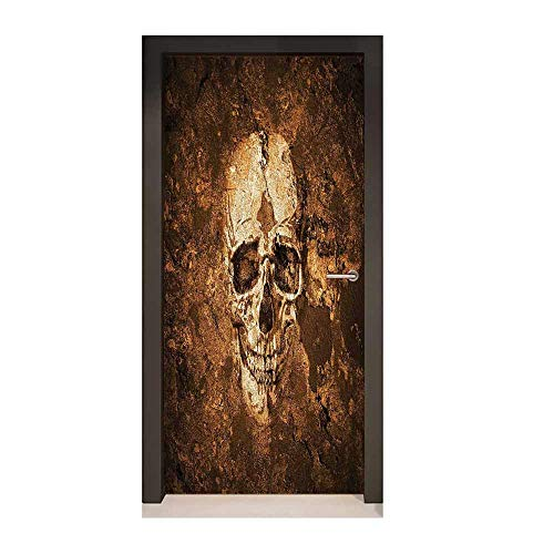 - Skull Self Adhesive Wall Sticker Graphic of an Human Skull on The Soil Dead Mans Look Horror Scary Theme Print for Home Decoration Chocolate Beige,W17.1xH78.7