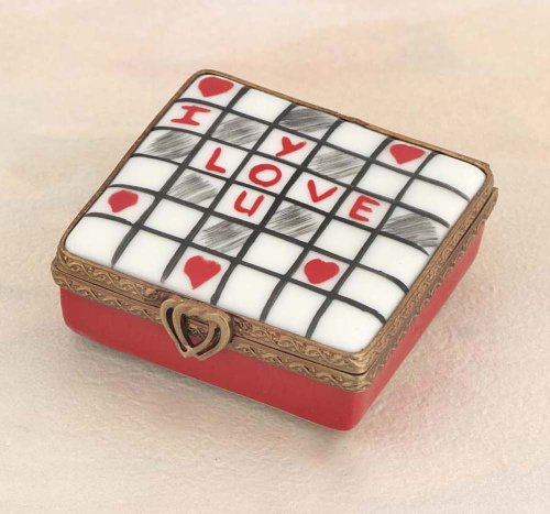 Authentic French Hand Painted Porcelain Limoges Love Crossword Puzzle Box