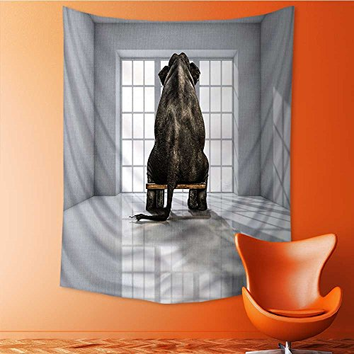 Polyester Fabric Wall Decor lonely elephant in the room for commercials Wall Hanging Bedroom Living Room Dorm Home Decor Tapestry 40W x 60L Inch by Vanfan