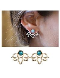 Minimalist Jewelry Turquoise Post Stud Earrings Women Hollow Lotus Flower Cuff Wrap Clip On Earrings
