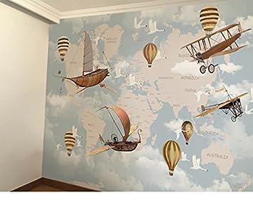 1ac32f2739 HHCYY Mapa Del Mundo De Dibujos Animados Aviones Globo De Aire Caliente  Papel Tapiz 3D Para Sala De Niños Sofá Pared De Fondo-250cmx175cm   Amazon.es  ...