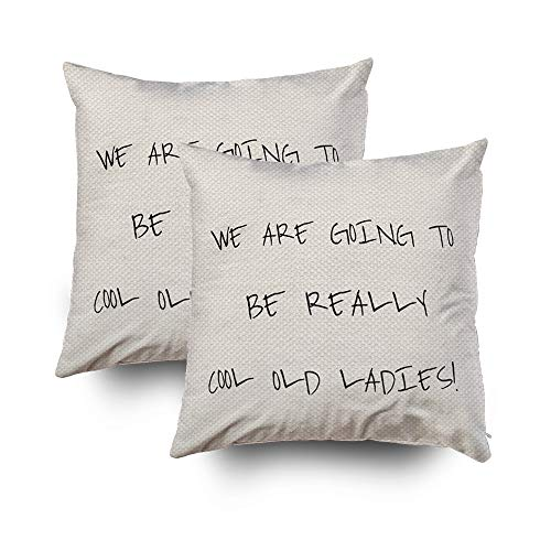 EMMTEEY Home Decor Throw Pillowcase for Sofa Cushion Cover,Cool Old Ladies toss Decorative Square Accent Zippered and Double Sided Printing Pillow Case Covers 16X16Inch,Set of 2