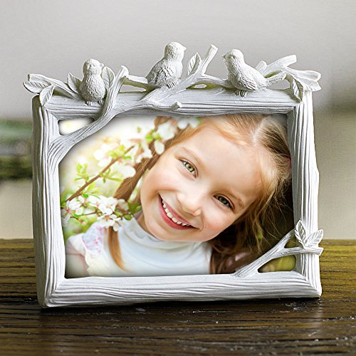 Ylyycc European style Creative Vintage photo frame Resin & Glass Picture Frames great home Decor baby gift wedding gift (white)