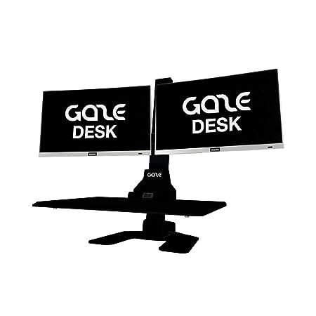 GAZEDESK Workstation Height Adjustable Desk Monitor Mount Black, Dual Monitor Mount