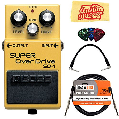 Boss SD-1 Super Overdrive Bundle with Instrument Cable, Patch Cable, Picks, and Austin Bazaar Polishing Cloth