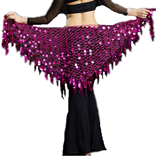 2018 Argentina Magenta Triangle Fringed Belly Dance Hip Scarf Shawl Covered With Sequins-Mother's Day Gift