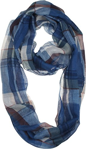 Vivian & Vincent Soft Light Elegant Solid Plaid Check Sheer Infinity Scarf Blue