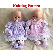 Dress, Mittens and Bootees Knitting Pattern to fit doll 15-18 inches/38-46 cms