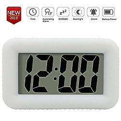 Digital Alarm Clock Table Electronic Clock with Rubber Case Display Time/Alarm, Snooze/Backlight, Adjustable Light Dimmer Battery Bedside Desk/Shelf Clock for Kids/Teens/Home/Office/Travel, White