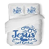 SanChic Duvet Cover Set Baptism Bible Lettering Christian Jesus Ia The Lamb God Biblical Catholic Decorative Bedding Set 2 Pillow Shams King Size