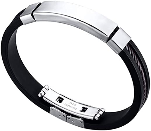 Stainless Steel and Silicone Men Bracelet/…