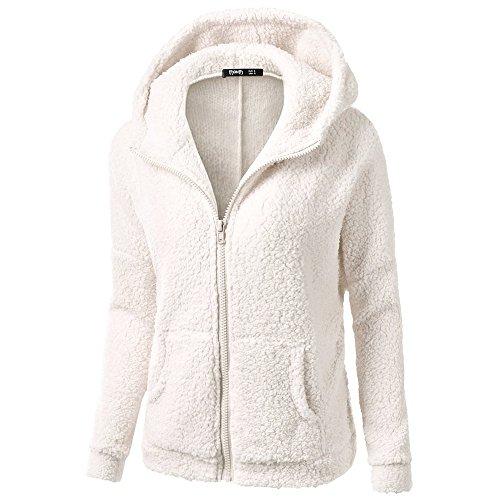Coton Poche Et Blanc Peluche Chaud Outwear Automne Hiver Femmes Laine Éclair Fermeture Keerads La Manteau Chandail Encapuchonné 6gFHwWWS1q