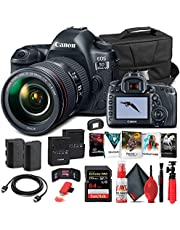 $3584 » Canon EOS 5D Mark IV DSLR Camera with 24-105mm f/4L II Lens (1483C010) + 64GB Memory Card + Case + Corel Photo Software + LPE6 Battery + External Charger + Card Reader + HDMI Cable + More (Renewed)