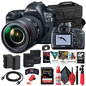 Canon EOS 5D Mark IV DSLR Camera with 24-105mm f/4L II Lens (1483C010) + 64GB Memory Card + Case + Corel Photo Software…