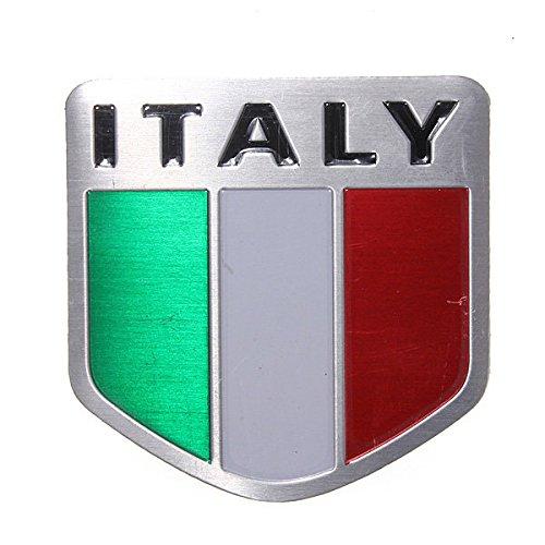 Exterior Accessories - Italy Flag Alloy Metal Auto Racing Sports Emblem Badge Decal Sticker - Slack Off Signal Iris Ease Slacken Italia Ensign National Flagstone Fleur-De-Lis - 1PCs