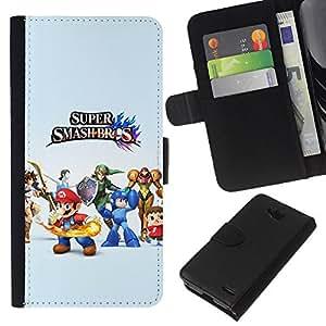 LECELL--Cuero de la tarjeta la carpeta del tirón Smartphone Slots Protección Holder For LG OPTIMUS L90 -- Super Smash Brothers --