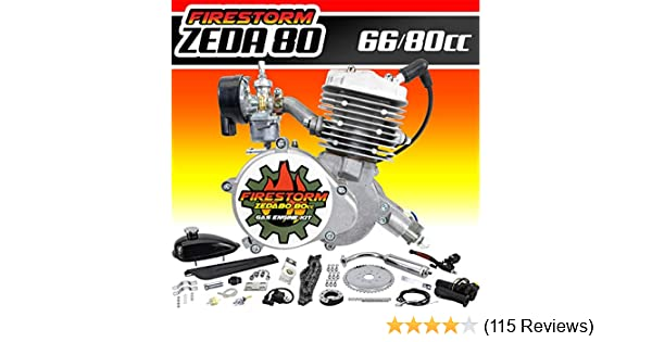 Zeda 80CC Silver PK80  2 Stroke Triple 40 Complete Bicycle Engine Kit