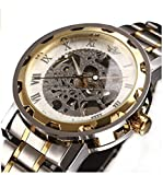 LYMFHCH Men's Classic Skeleton Stainless Steel Mechnical Watch with Link Bracelet Gold/Silver