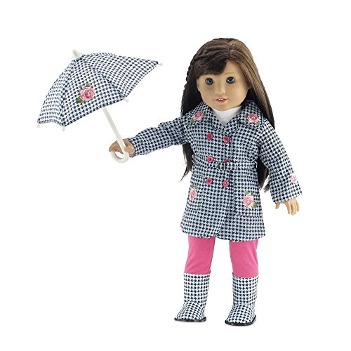18 Inch Doll Clothes | Lovely 5-Piece Raincoat Outfit with Rose Embellishments, Including Matching Boots and Umbrella, White Long Sleeved T-Shirt and Bright Pink Leggings | Fits American Girl Dolls ()