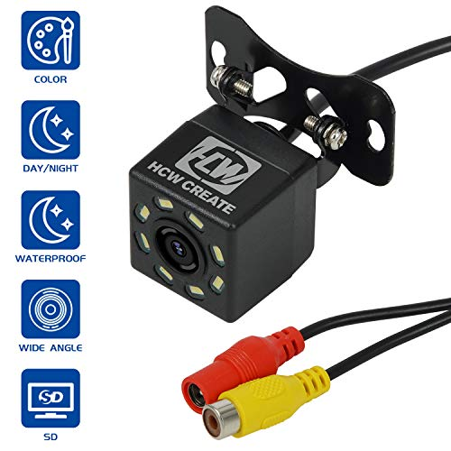 HCW CREATE Car Rearview Vehicle Backup Camera,8LED Nigh Vision Lights 170º, Waterproof IP68 for All Cars