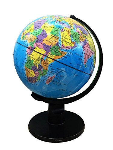 Exerz Educational Swivel Globe (X-Large 12'' / 30cm Diameter) - up-to-Date Political Desktop World Globe with Stand - Blue Ocean Black Base Full Earth Geography - for Kids and Adults