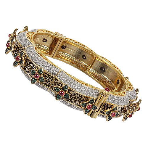 MUCHMORE Gorgeous Style CZ/Ruby Gold Tone Diamond Swarovski Elements Indian Bangles Traditional Jewelry (2.6) by Muchmore
