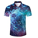 Fanient Mens Hawaiian Shirt 3D Starry Sky Print Aloha Shirts Casual Button Down Short Sleeve Shirts