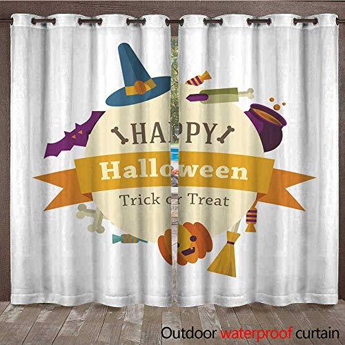 RenteriaDecor 0utdoor Curtains for Patio Waterproof Happy Halloween Background W72 x L84]()