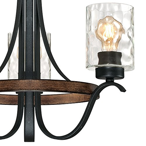 Westinghouse Lighting 6331800 Barnwell Three-Light Indoor Chandelier, Textured Iron and Barnwood Finish with Clear Hammered Glass 3