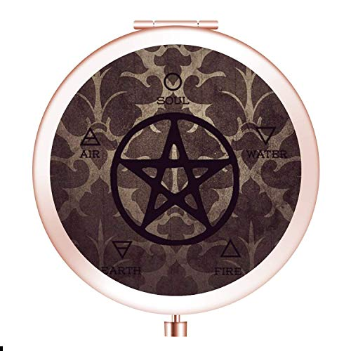 Glad grace Witchcraft Pentagram Makeup Mirror [New Version] Portable Hand Mirror Round Mini Pocket Mirror with 2 x 1x Magnification for Woman,Mother,Girls,Great Gift.