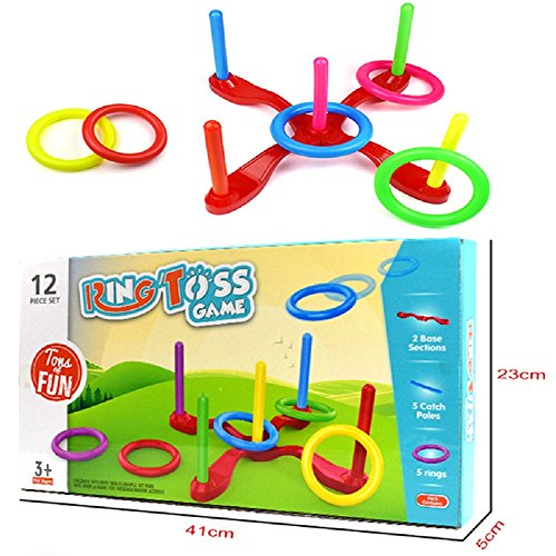 WisHouse Ring Toss Game Set - Toys Birthday Gifts for Kids - Fun Outdoor Game for Family - Easy to Assemble and Carry, Builds on Your Eye and Hand Coordination Skills ()