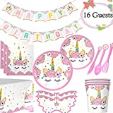 Unicorn Party Supplies Set-Serves 16 Unicorn Party Decoration Kit For Girls Birthday Plates Cups Napkins Table Cover Banner Tableware Decors Kids Party Supplies